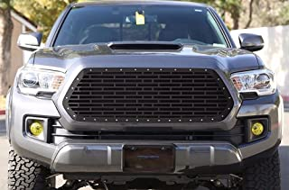 300 Industries Steel Grille Replacement for Toyota Tacoma 2016-2017 - Single Piece Powder Coated Satin Black - Bricks