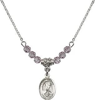 June Birth Month Bead Necklace with Catholic Patron Saint Petite Charm, 18 Inch