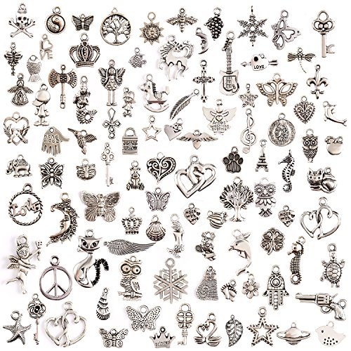 JuanYa 100 Pcs Silver Plated Mixed Charms DIY Necklace Bracelet Pendants for Jewelry Making