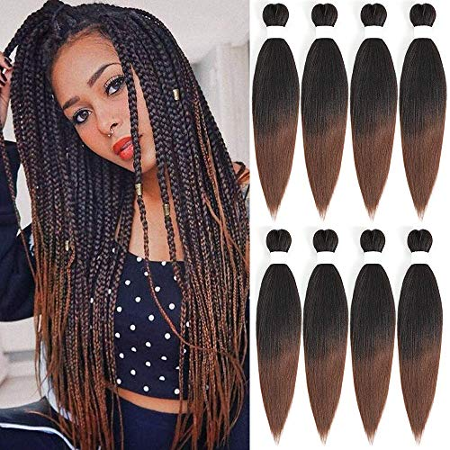 Pre Stretched Braiding Hair 8 Packs 20 Inch Ombre light Brown Itch Free...