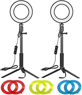 Neewer 2 Packs 6-inch LED Ring Light with Tripod Stand Adjustable & Color Filters: Dimmable 5600K Light Ring for Tabletop ...