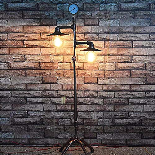 Rishx Jahrgang Kreative Eisen Wasserleitung Stehlampe Loft Industrie E27 2-Köpfe Stehendes Licht für Restaurant Hotel Wohnzimmer Deco Retro Schlafzimmer Studie Lesen Innenbeleuchtung