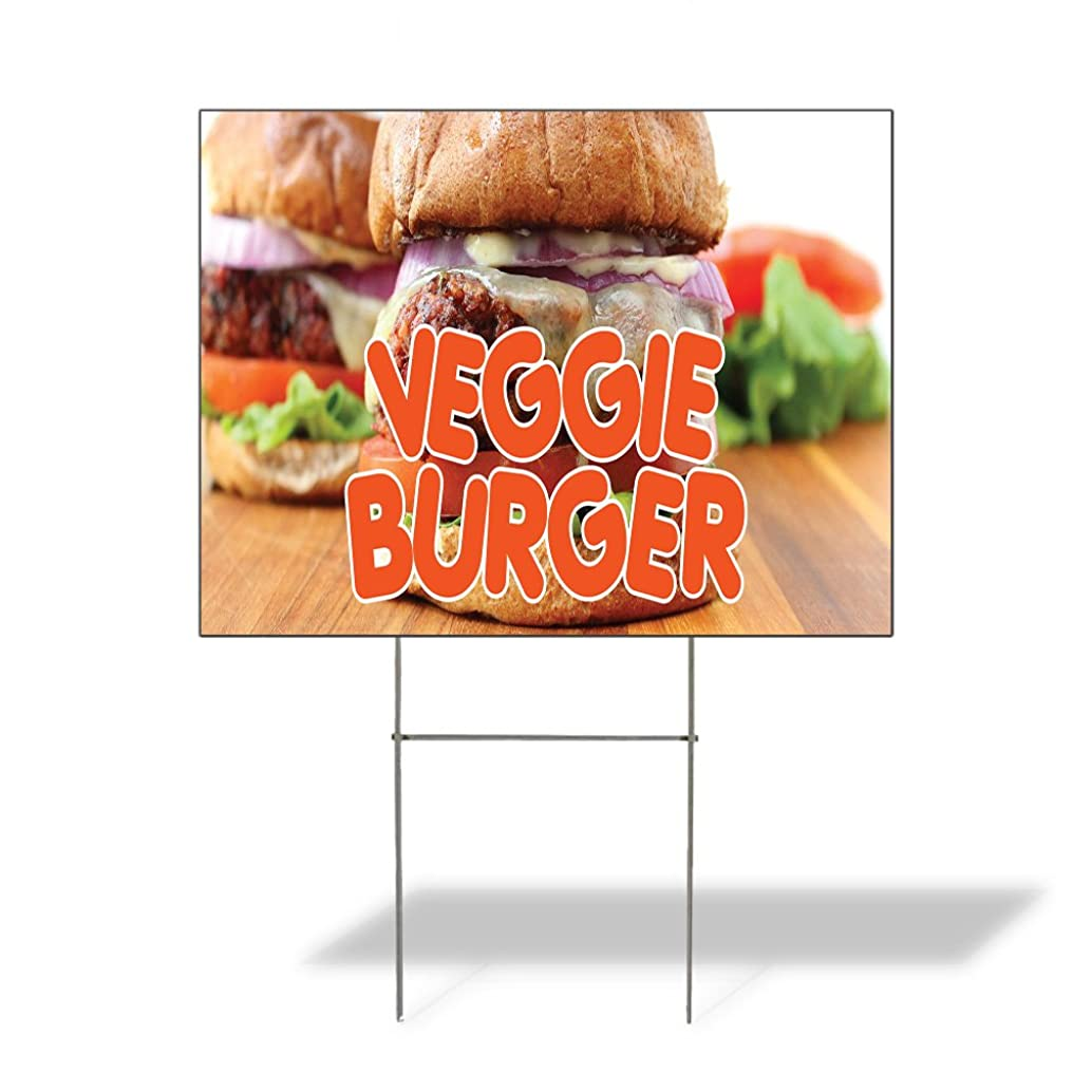 Plastic Weatherproof Yard Sign Veggie Burger Veggie Burger Other Food Red Veggie Burgers for Sale Sign Multiple Quantities Available 18inx12in One Side Print One Sign