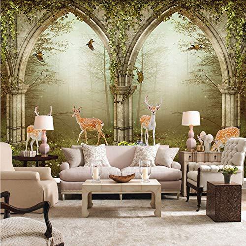 Cczxfcc behang Europese kunst herderbloemen wijn-bos wild woonkamer-sofa-achtergrond wandschilderij foto-3D 400 x 280 cm.