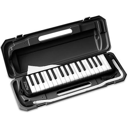 RiZKiZ 鍵盤ハーモニカ 32鍵盤 【ブラック】 授業で使える 卓奏用 立奏用 ふき口 ホース ケース付 ホールドベルト 名前シールスペース付