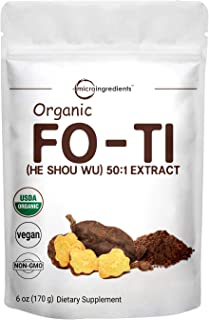 Maximum Strength Organic Fo Ti 50:1 Extract Powder (He Shou Wu), 4 Ounce, Traditional Anti Aging Herb, Powerfully Promotes...