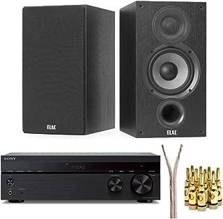 Elac Debut 2.0 B5.2 Bookshelf Speakers (Pair) with Sony STRDH190 Stereo Receiver, Speaker Wire and Banana Plugs Bundle (4 Items)