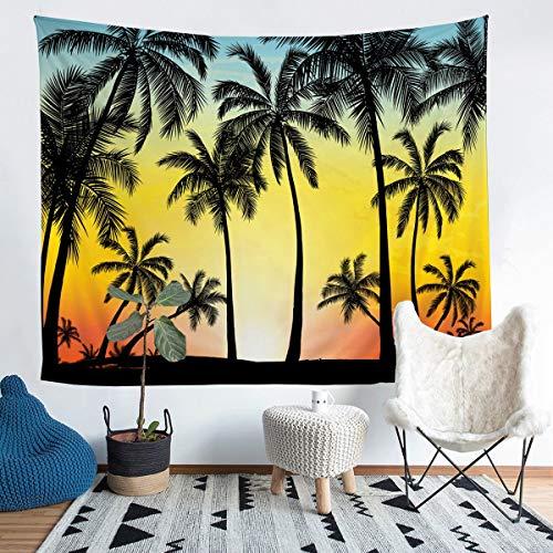 Tapiz de pared con diseño de palmera, para colgar en la pared para niños y niñas, diseño de árbol tropical, decoración de pared para dormitorio o sala de estar, tamaño mediano 137 x 132 cm