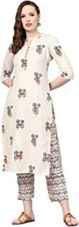 GoSriki Women's Rayon Straight Printed Kurta With Pant Set