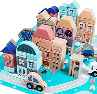 GEMEM Wooden Building Blocks Set-133 Pieces for Children Classic City Construction and Shapes Montessori Stacking Toy for Boys Girls with 48 Pieces Play Mat Puzzle