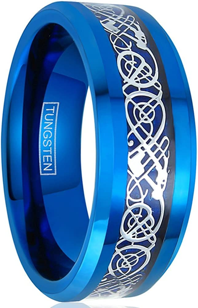 Kings Cross Irisdescent Glow in The Dark 8mm Polished Piano Black Tungsten Carbide Band Ring with Matching Black Celtic Dragon Inlay.