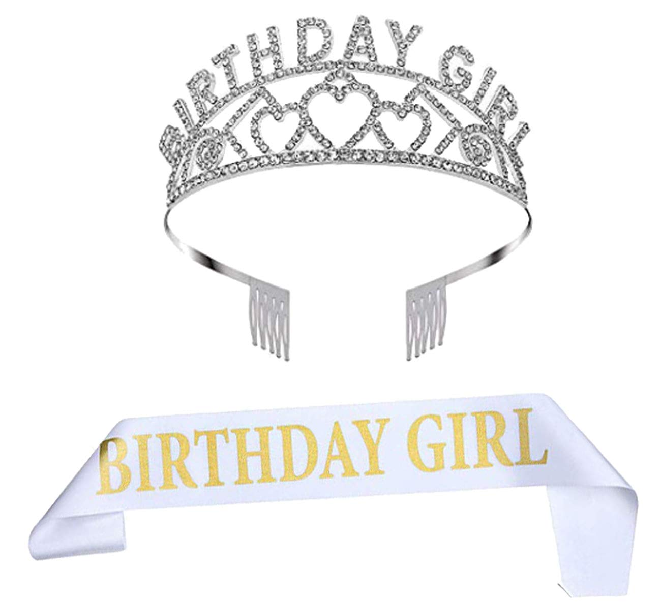 Birthday Crown Party Rhinestone Headband Prom Queen Crown Birthday Girl Sash (01) : Beauty & Personal Care