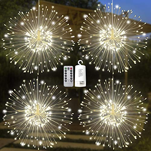 4 Pack 120 LED Firework Copper Wire Hanging Starburst Fairy Lights 8 Modes Remote Waterproof for Christmas Home Party Wedding Garden Xmas Patio Bedroom Décor Indoor Outdoor Decorations (Warm White)