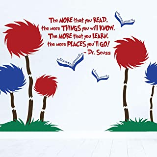 Dr. Seuss Wall Decor Scene   The More That Read Mural w Tufted Trees Classroom Decor   The Lorax Playroom Child Bedroom Nursery Party Decoration   Vinyl Decal Stickers in Blue, Red, Black, 25 Colors