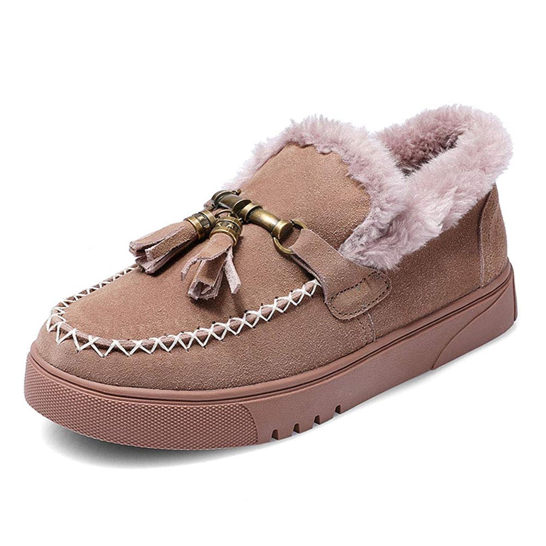 HWF レディースシューズ 冬の女性のコットンの靴厚い暖かいフラットなスノーブーツ女性、ヒールの高さ3cm (色 : Purple, サイズ さいず : 36)