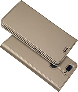 OnePlus 5 ケース 手帳型 ワンプラス 5 手帳型 ケース OnePlus 5 カバー 【iCoverCase】 内蔵マグネット スマホケース 携帯カバー カードポケット スタンド機能 軽量 超薄型 耐摩擦 【選べる4色】ゴールド