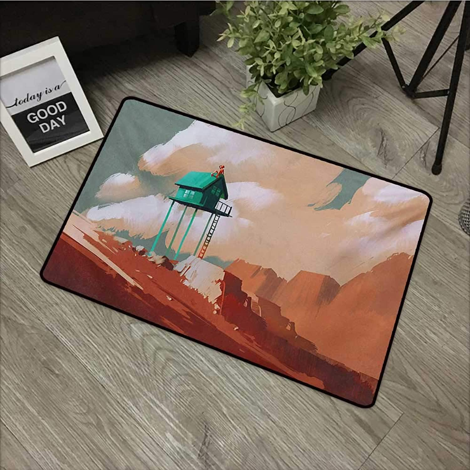 Bathroom Door mat W35 x L47 INCH Fantasy,Little Wood House on Stone Hill with Robot on The Cloudy Roof Calming Artwork Print,Tan Green Easy to Clean, Easy to fold,Non-Slip Door Mat Carpet