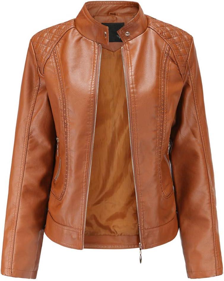 ER-JI Women's Faux Leather Short Jacket, Motorcycle Casual Jacket,Brown,M