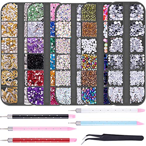 Duufin 11220 Pcs Nail Rhinestones Flatback Crystal Nail Jewels Rhinestones Nail Studs with 5 Pcs Rhinestone Picker Dotting Pen and 1 Pc Pick Up Tweezer for Nails Art Clothes Shoes Bags Decoration
