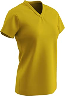 CHAMPRO Star Ladies V Neck T Shirt, Girls' Medium, Gold