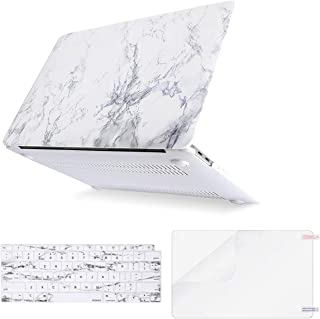 MOSISO MacBook Air 13 inch Case 2019 2018 Release A1932 with Retina Display, Plastic Pattern Hard Shell & Keyboard Cover & Screen Protector Only Compatible with MacBook Air 13, White Marble