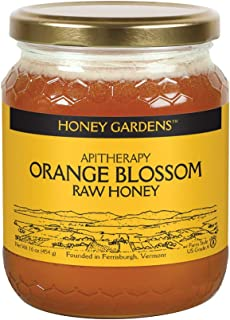 Honey Gardens Apitherapy Raw Honey   Orange Blossom   100% Pure, US Grade A, Unheated & Unfiltered   21 Serv   1 lb Jar