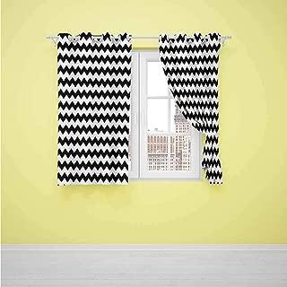 HCCJLCKS Chevron Home Premium Blackout Curtains Zig Zags in Black and White Sharp Arrow Inspired Classic Retro Tile Monochrome Decor Curtains W63 x L45 inch Black White