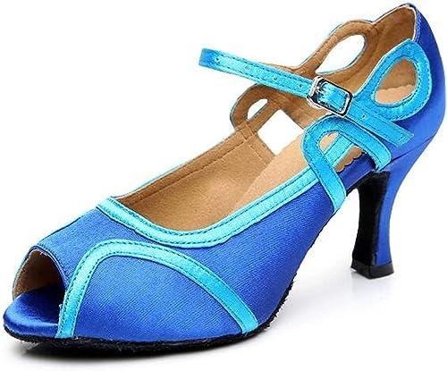 Willsego Souliers de Danse Latine pour Femmes, Salle de Bal Sandals Salsa Tango   Chacha Samba   Modern Chaussures de Jazz (Couleuré   bleuheeled6cm, Taille   UK5 EU37 Our38)