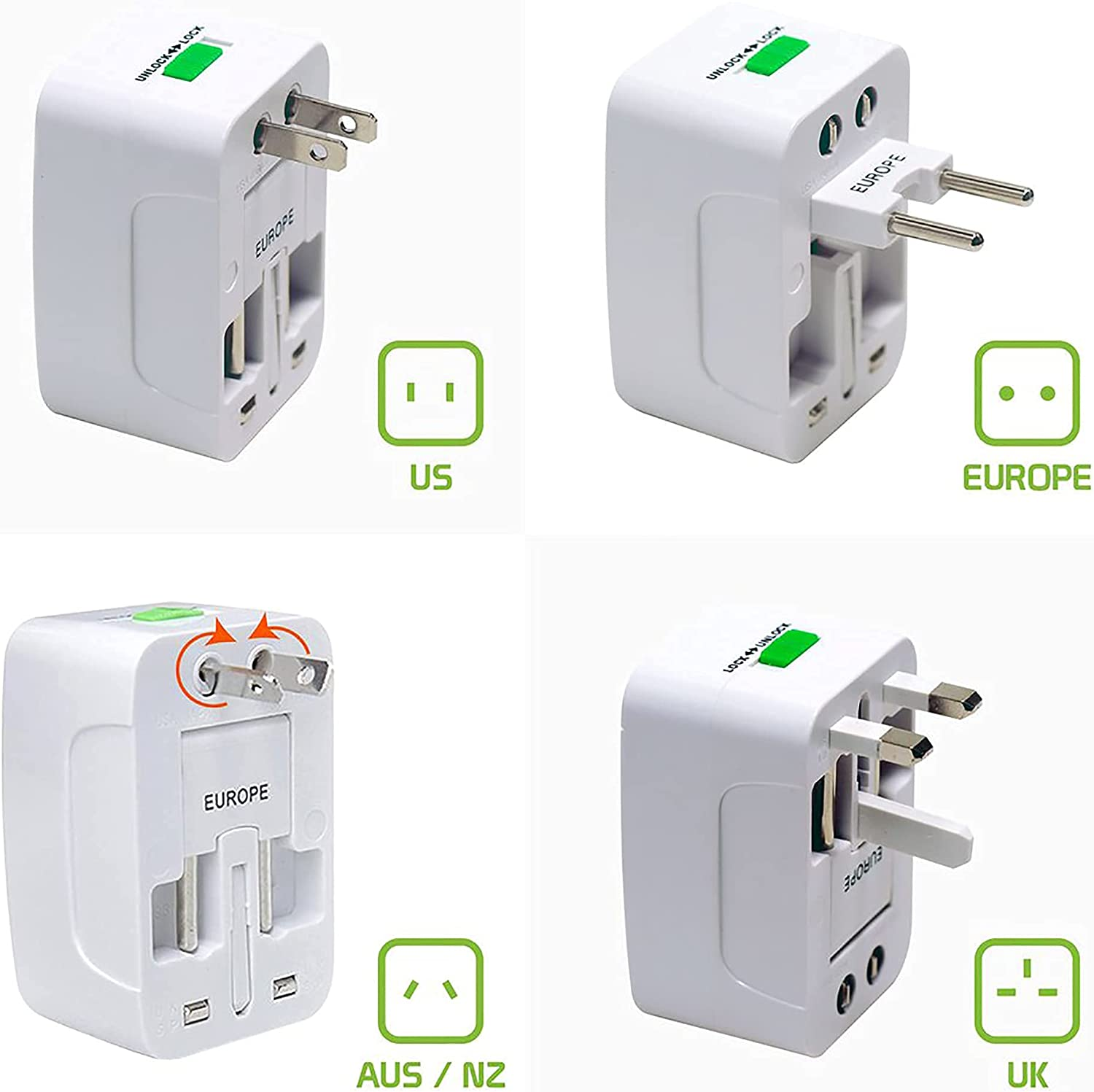Worldwide Power Adapter Works for Micromax Canvas Engage is Universal for 90% of Travel Between US/EU/CN/AUS/NZ/UK Type