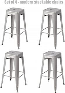 Retro Classic Style School Office Kitchen Dining Room Chair Stackable Backless Metal Frame Stable Seats Indoor/Outdoor Bar Stools 30