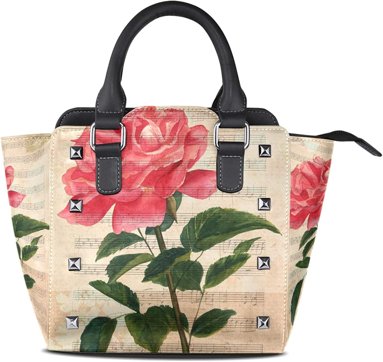Women's Top Handle Satchel Handbag Vintage pink Aged Sheet Music Ladies PU Leather Shoulder Bag Crossbody Bag