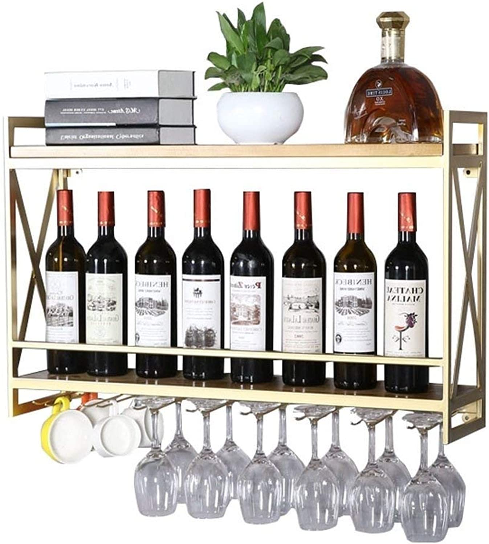 DUDDP Rack de vinos Soporte de botella de vino Soporte de parojo de metal vintage Botella de vino Estante montado en el estante Organizador de almacenamiento Colgante Soporte de vidrio de vino Decoraci