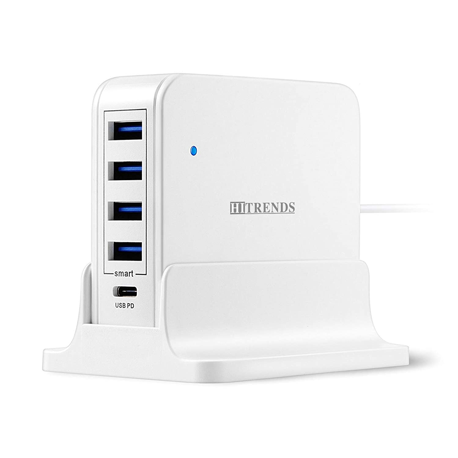 Multi Port USB Charger, 5-Port 63W Type-C PD Charger Hub, HITRENDS Desktop Charger Station with 45W Max PD Port Compatible with MacBook Pro/Air, iPad Pro, Nintendo Switch & 4 USB Ports for Multiple D