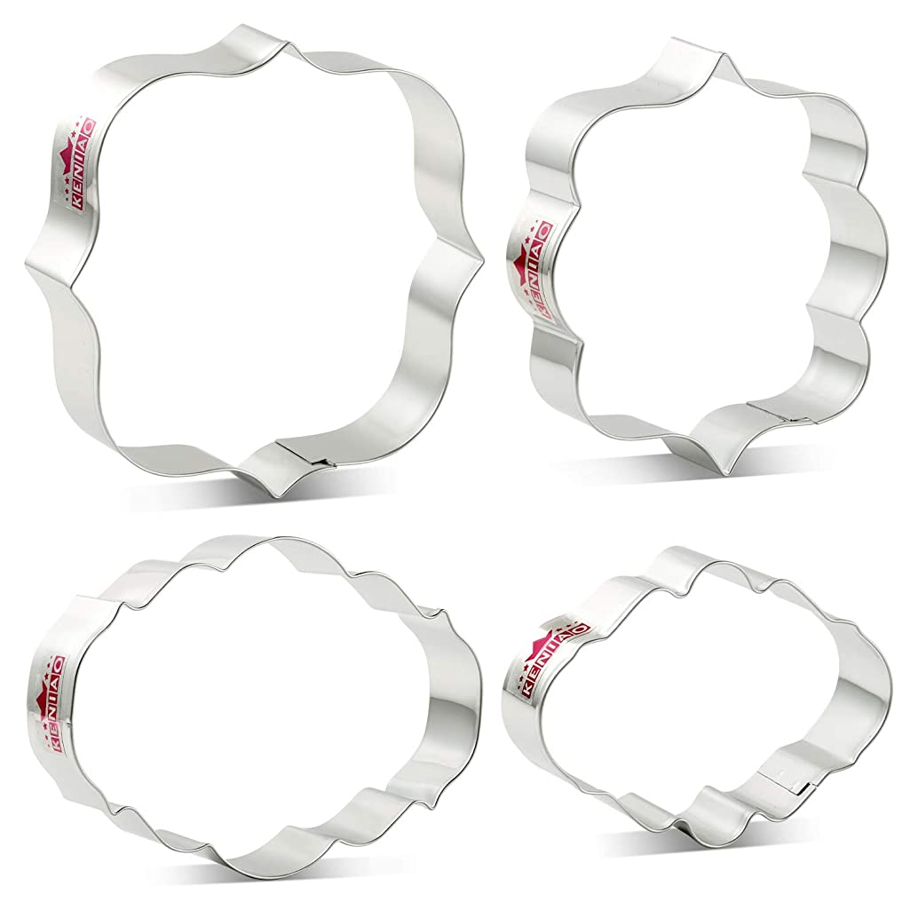 KENIAO Plaque Cookie Cutter Set Frame Fondant/Biscuit/Bread Cutters - 4 Piece - Square, Big Oval, Small Oval and Photo Shape - Stainless Steel
