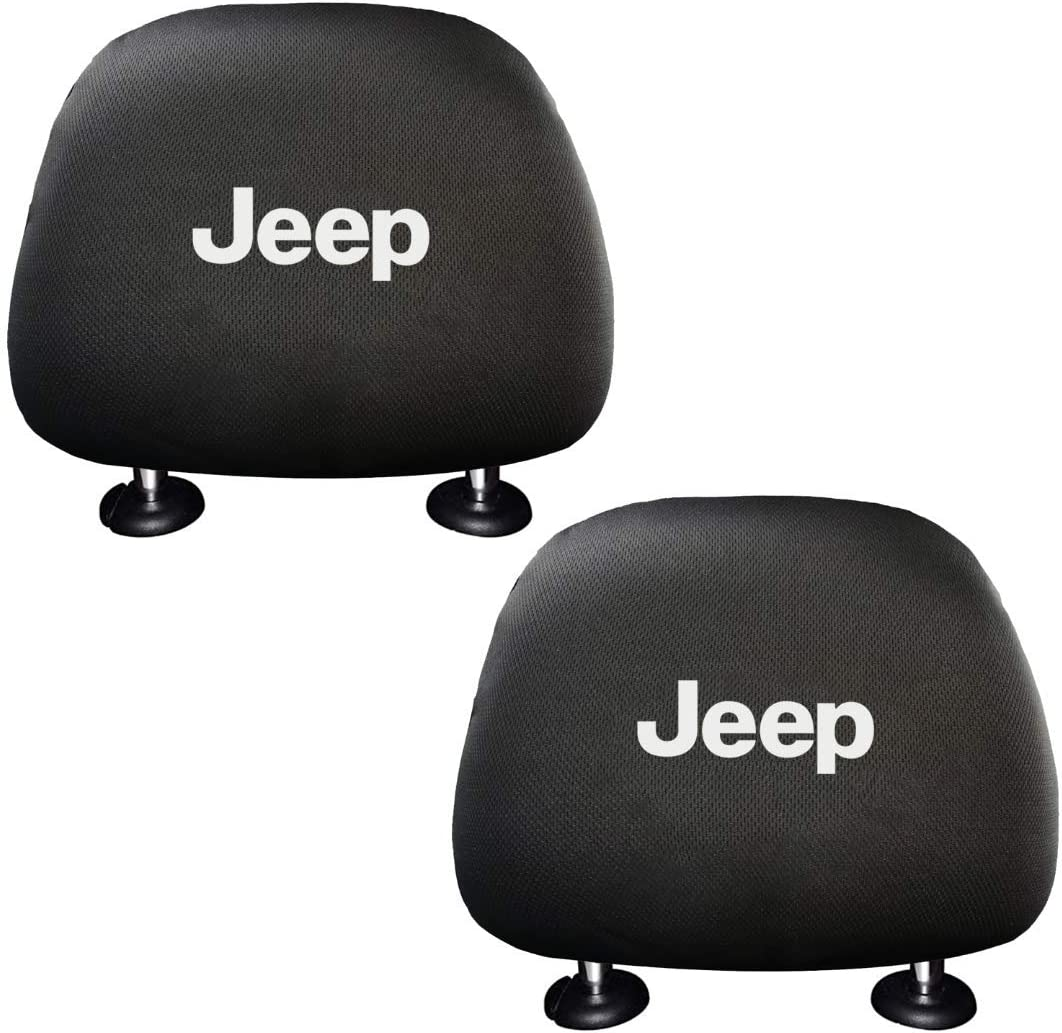 cargooghi 2 Pack Headrest Covers for Ford Soft Black Fabric Head Rest Cover Universal Fit to All Car//Truck Models