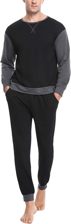Sykooria Mens Pajama Set Long Sleeve Lounge Sets Contrast Color Top and Long Pants Comfy Pjs Sleepwear 2 Piece Nightwear