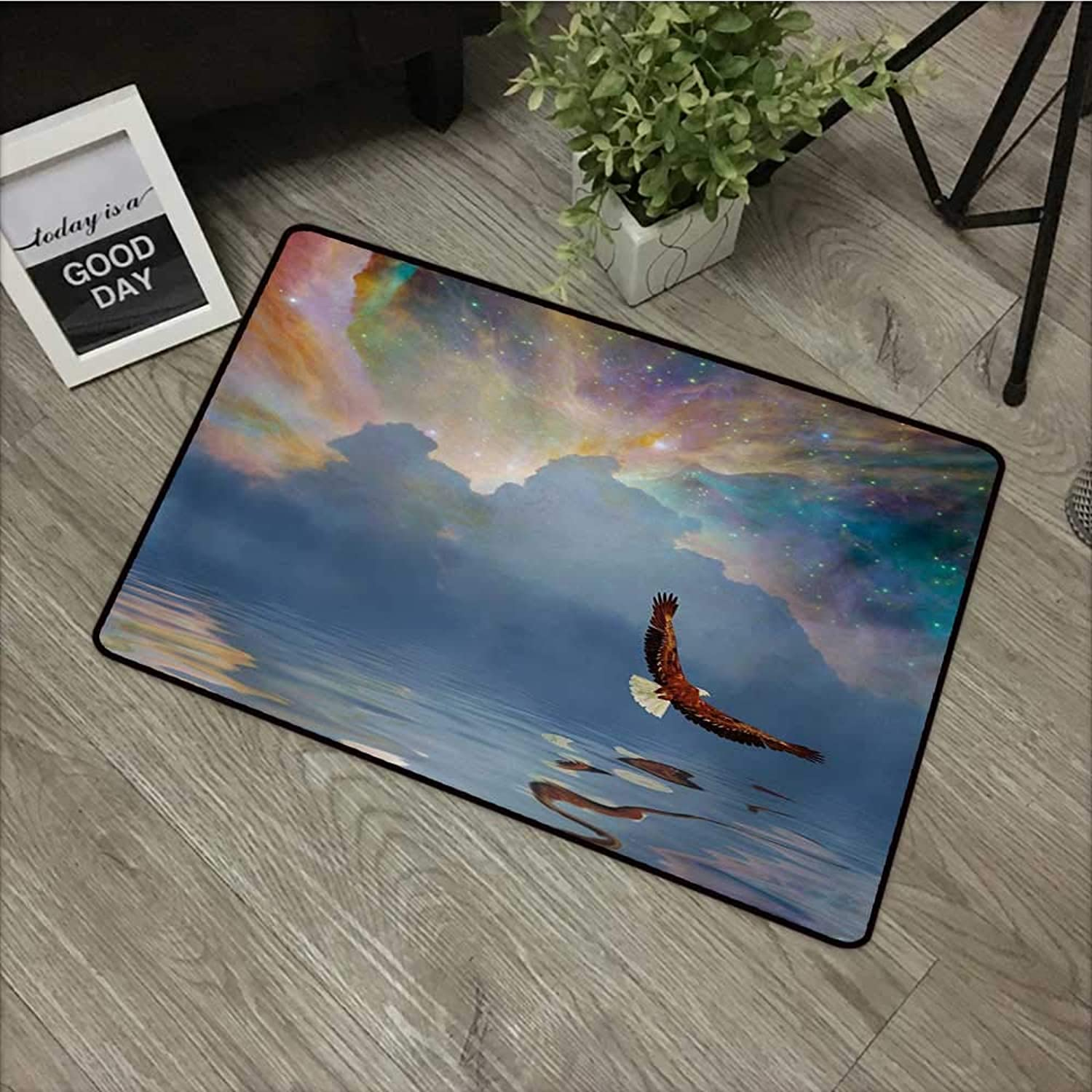Meeting Room mat W35 x L59 INCH Eagle,Majestic Huge Bird Flying Above The Sea into The Starry Sky Freedom Themed Image,Multicolor with Non-Slip Backing Door Mat Carpet