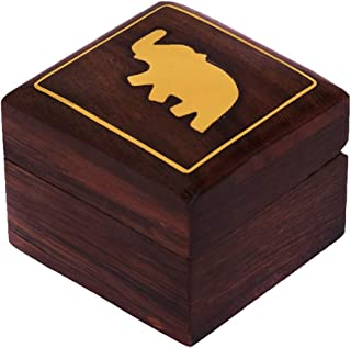 Hashcart Handmade Wooden Ring Box - Decorative Trinket Box with Brass Inlay Work (2x2 inch) - Decorative Box Jewelry