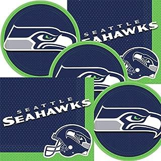 Seattle Seahawks NFL Football Team Logo Plates And Napkins Serves 16