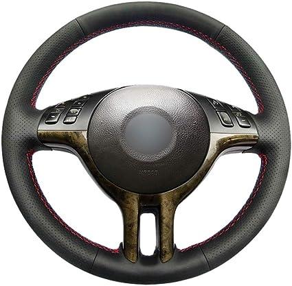Jnxzhqct Auto Handgenähte Schwarze Pu Kunstleder Lenkradabdeckung Für Bmw E46 318i 325i 330ci E39 X5 E53 Z3 E36 7 E36 8 Sport Freizeit
