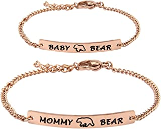 Mommy Bear and Baby Bear Bracelet Set Mommy and Me Jewely Baptism Gift for New Born Baby
