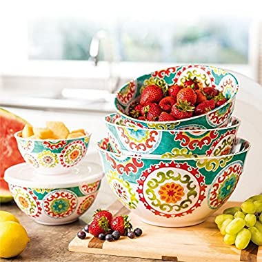 Melamine 10-Piece Bowl Set with lids Medallion Design
