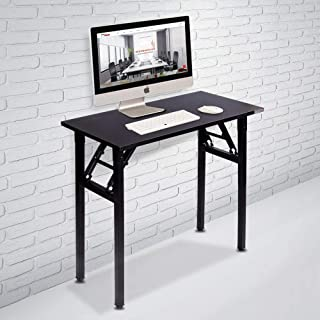 "Need Small Computer Desk Folding Table 31 1/2"" Length No Assembly Sturdy and Heavy Duty Writing Desk for Small Spaces and Small Folding Desk -Damage Free Deliver(Black Walnut) AC5CB8040"