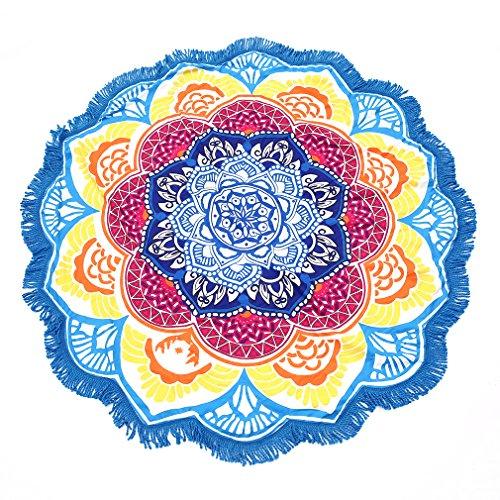 Serviette Sèche Rapidement LESHP Serviette Ronde de Plage Décor avec des Petites Boules Motif de Fleurs de Glands 147 * 147 cm Circulaire pour Yoga Picnic (Bleu)