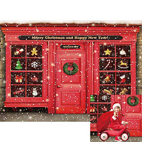 Allenjoy Merry Christmas Shop Storefront Backdrop Winter Snowflake Xmas Happy New Year Party Wall Decor Banner Kids Newborn Baby Shower Portrait Photoshoot Background Pictures 7x5ft Photo Booth Props