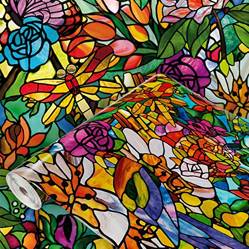 DecoMeister Klebefolien Fensterfolien Deko-Folien Fensterdekor Selbstklebefolie Fensterfolie Selbstklebend 45x200 cm Bunter Garten