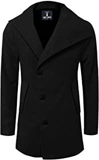 TAM WARE Mens Slim Fit Unbalanced Single Breasted Button Wool Pea Coat