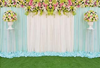 Romantic Floral Wedding Stage Backdrop 10x6.5ft Graceful Vinyl Fresh Flowers White Blue Curtain Bouquet Flower Stands Background Ceremony Wedding Photo Booth Bride Groom Portrait Shoot