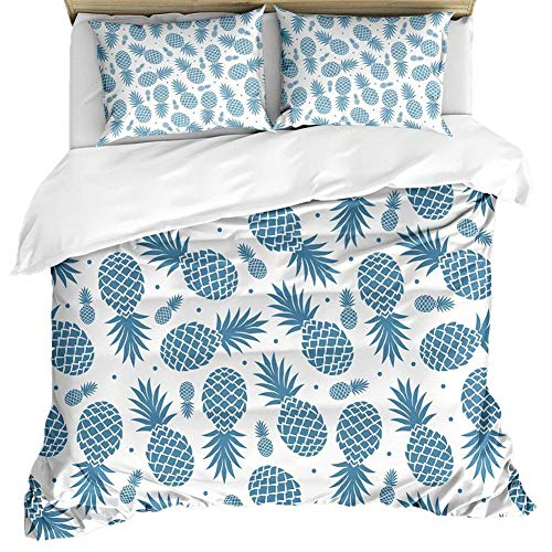 Loussiesd Pineapple Kids Bedding Sets Microfiber Printed Tropic Fruity Boys Girls Duvet Cover Set,Minimalistic Simple Dots Youth Teen Bedcover 1 Pillowcase,No Comforter Single Size Blue 2 Pieces
