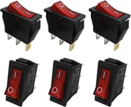 mxuteuk 6pcs AC110V Red Light Illuminated Snap-in Boat Rocker Switch Toggle Power SPST ON-Off 3 Pin AC 250V 15A 125V 20A, Use for Car Auto Boat Household Appliances 1 Years Warranty MXU3-101NR